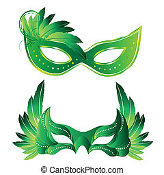 carnival masks - a pair of green carnival masks with some...