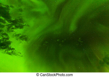 Green Northern Lights night sky abstract backdrop -...