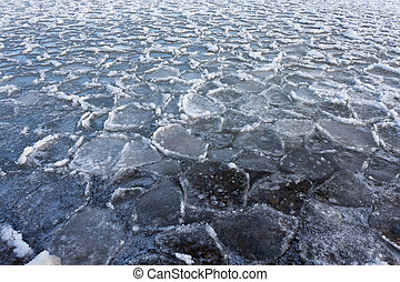 Ice floe winter nature pattern background - Ice floes...
