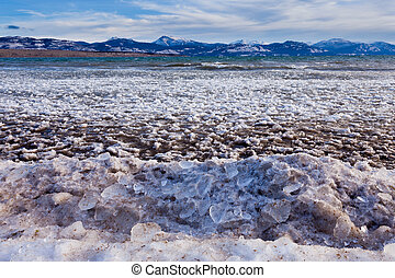 Lage Laberge freeze-up ice floes Yukon Canada - Shore ice...