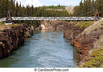 Swing bridge across Miles Canyon of Yukon River - Miles...