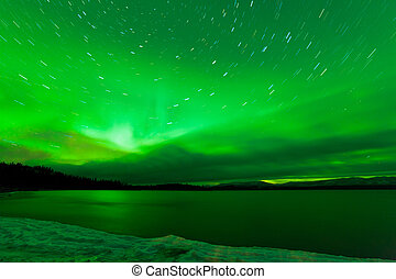 Aurora borealis starry night sky over Lake Laberge - Green...