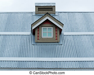 Metal roof small dormer window architecture detail -...