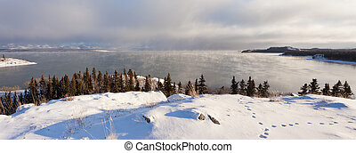 Steaming Lake Laberge Yukon pano before freezing - Steaming...