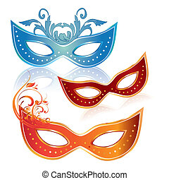 carnival masks - three colored carnival masks with some...