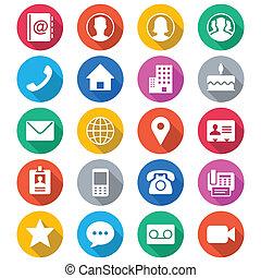 contacto, plano, Color, iconos