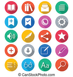 E-book reader flat color icons. Simple vector icons. Clear...