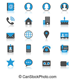 Contact flat with reflection icons. Simple vector icons....