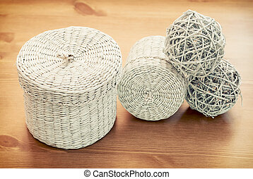 Set of seagrass basket - Set of white seagrass basket on a...