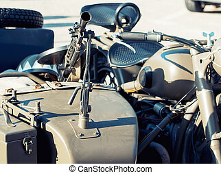 Machine gun mounted on the veteran sidecar - Detail of...