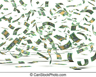 Flying Australian Dollars (isolated with clipping path)