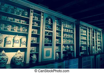 Bottles in an old pharmacy