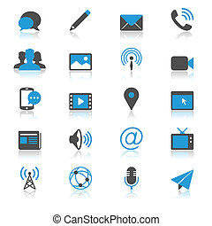 Media and communication flat with reflection icons - Media...