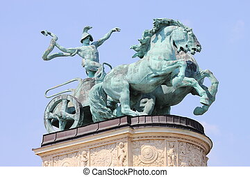 Allegorical statue of War in Heroes Square of Budapest,...