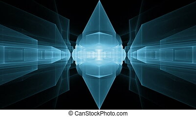dynamic blue cubes in perspective - Dynamic blue translucent...