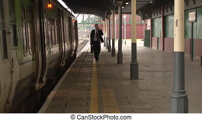 Business man at Train station - Stock Video Footage of a...