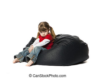 Little Girl sitting in a bean bag