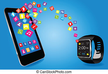 Smartwatch and Smart phone with colorful Application Icons...