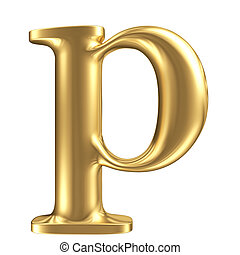 Golden matt lowercase letter p, jewellery font collection