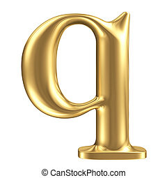 Golden matt lowercase letter q, jewellery font collection