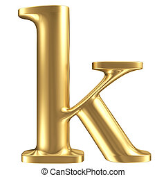 Golden matt lowercase letter k, jewellery font collection