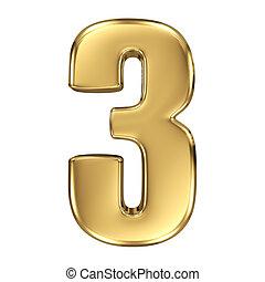 dorado,  -, número, Colección,  3,  3D