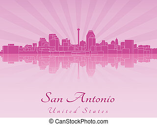 San Antonio skyline in purple radiant orchid in editable...