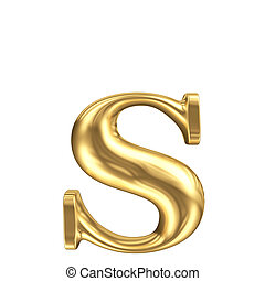 Golden matt lowercase letter s, jewellery font collection