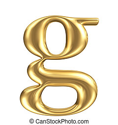 Golden matt lowercase letter g, jewellery font collection