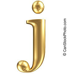 Golden matt lowercase letter j, jewellery font collection