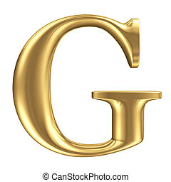 Golden matt letter G, jewellery font collection