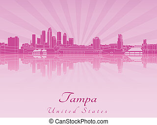 Tampa skyline in purple radiant orchid in editable vector...