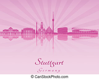 Stuttgart skyline in purple radiant orchid in editable...