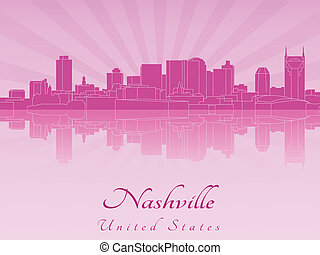 Nashville skyline in purple radiant orchid in editable...