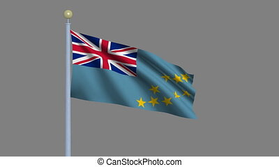 Flag of Tuvalu waving in the wind