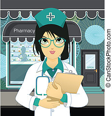 Pharmacy - Pharmacists woman wearing glasses in front of the...