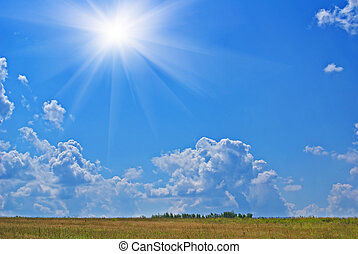 Summer heat - Summer sunny hot landscape with cloudy sky