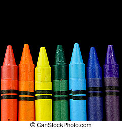 Crayons - Set of colour crayons on black background