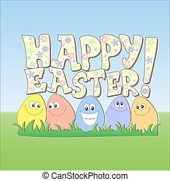 Happy Easter card, cartoon style