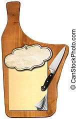 madera, viejo, cuaderno, corte, tabla, blanco