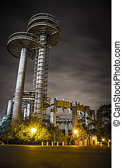New York Worlds Fair at night, flushing meadows