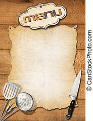 Rustic Menu Template - Wooden boards with empty parchment...