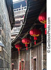 hakka, Chińczyk, mieszkaniowy, tulou, tradycyjny, czerwony,...