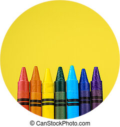 Crayons - Set of colour crayons on yellow background