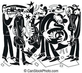 jazz musicians - vector drawing illustration cartoon