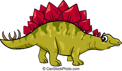 stegosaurus dinosaur cartoon illustration - Cartoon...
