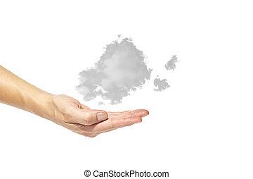 Cloud in hands on a white background, the concept of natural...