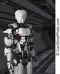 futurista, robot, sci, fi, pasillo