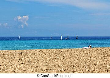 Mondello - Relax on the beach, springtime in Mondello,...