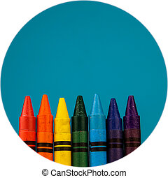Crayons - Set of colour crayons on blue background
